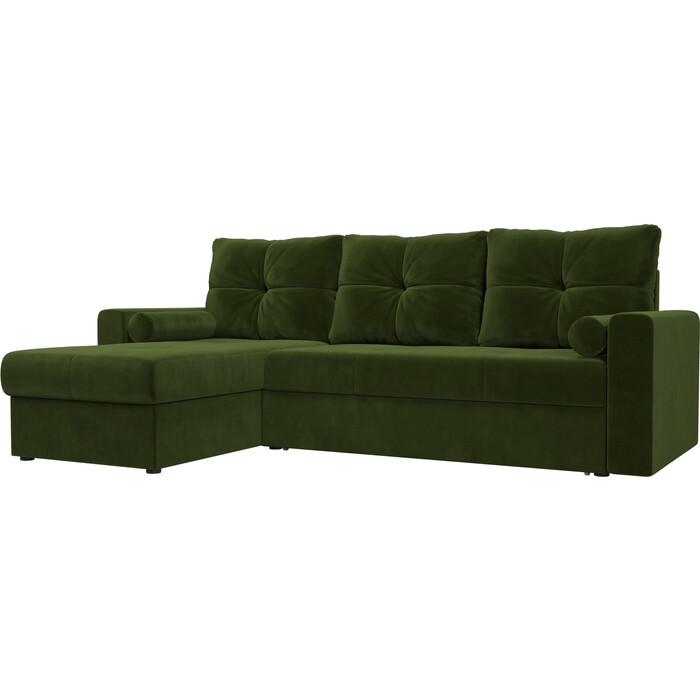 Угловой диван АртМебель Верона микровельвет зеленый левый угол