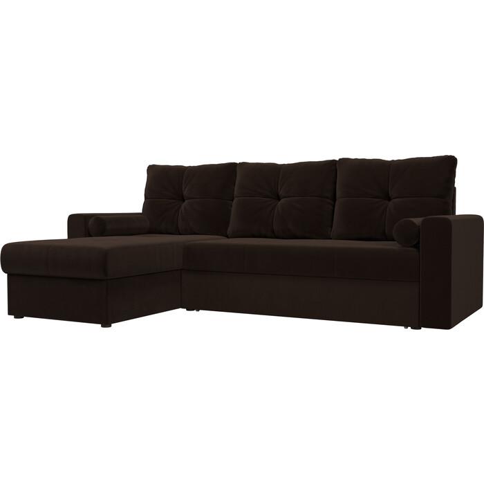 Угловой диван АртМебель Верона микровельвет коричневый левый угол угловой диван артмебель верона экокожа коричневый левый угол