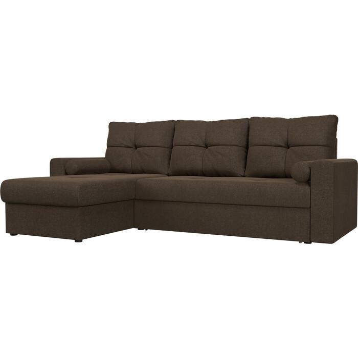 Угловой диван АртМебель Верона рогожка коричневый левый угол