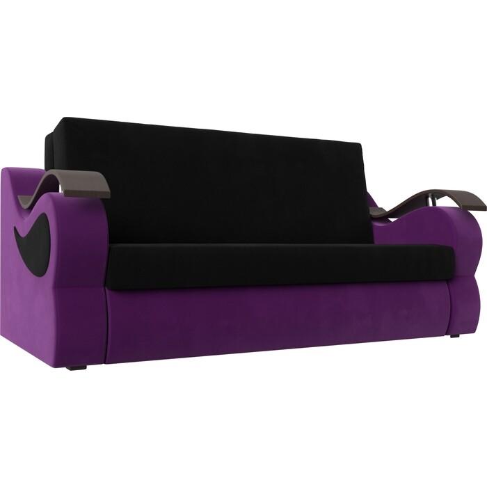 Фото - Прямой диван АртМебель Меркурий вельвет черный/фиолетовый (160) прямой диван артмебель меркурий вельвет фиолетовый экокожа черный 140