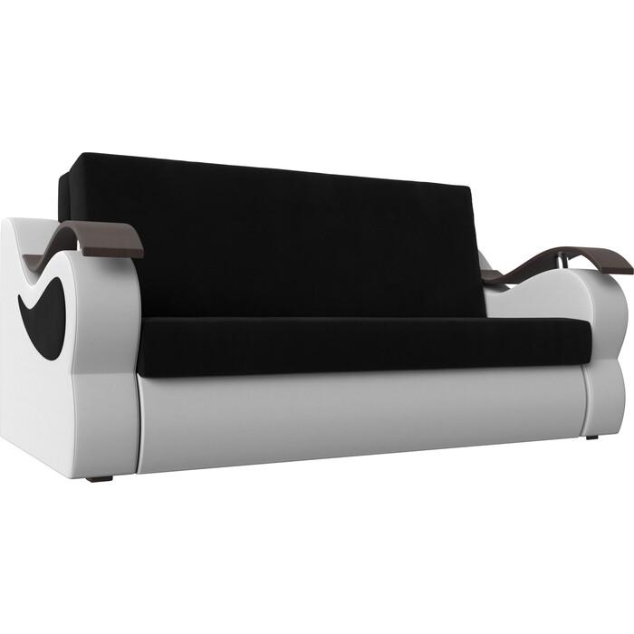 Фото - Прямой диван АртМебель Меркурий вельвет черный экокожа белый (160) прямой диван артмебель меркурий вельвет фиолетовый экокожа черный 140