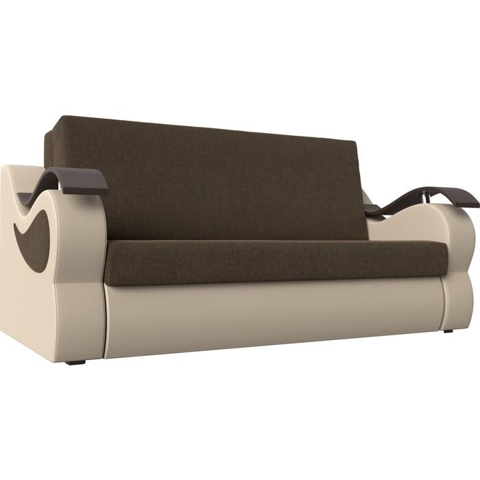 Прямой диван АртМебель Меркурий рогожка коричневый экокожа бежевый (100)