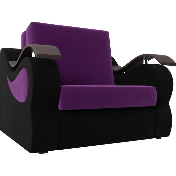 Прямой диван АртМебель Меркурий вельвет фиолетовый/черный (80)