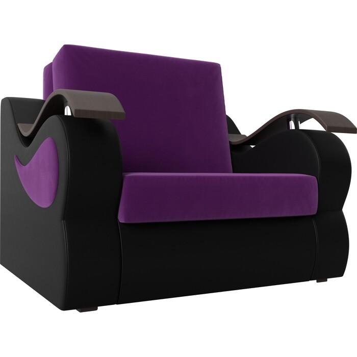 Прямой диван АртМебель Меркурий вельвет фиолетовый экокожа черный (80)