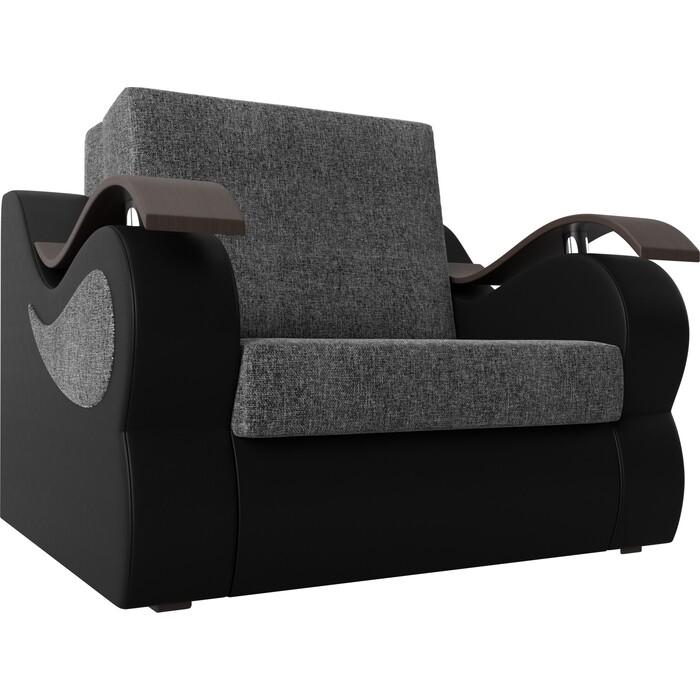 Прямой диван АртМебель Меркурий рогожка серый экокожа черный (60)