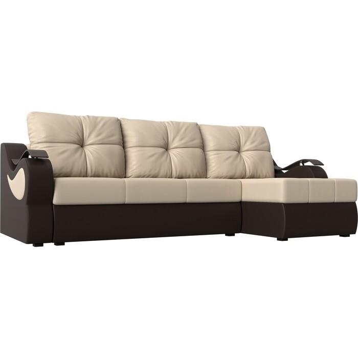 Угловой диван АртМебель Меркурий экокожа бежевый/коричневый правый угол