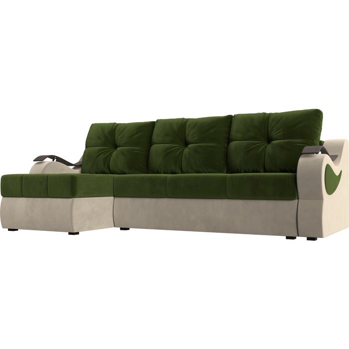 Угловой диван АртМебель Меркурий вельвет зеленый/бежевый левый угол