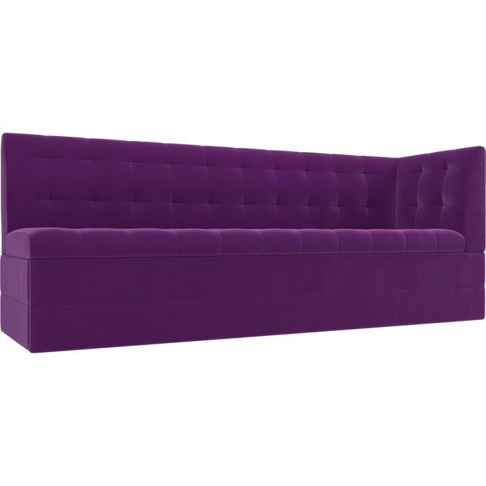 Кухонный угловой диван АртМебель Бриз вельвет фиолетовый правый угол