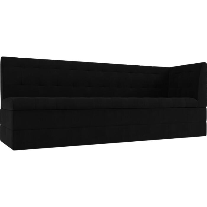 Кухонный угловой диван АртМебель Бриз вельвет черный правый угол