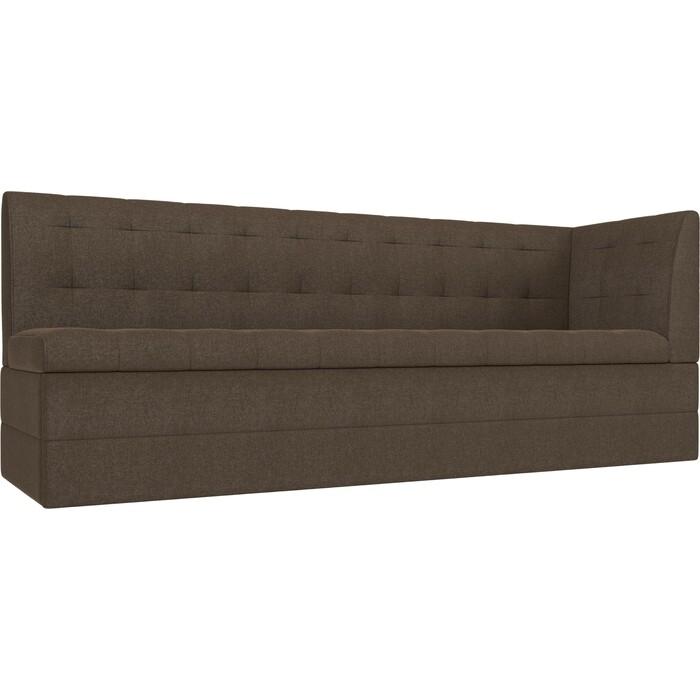 Кухонный угловой диван АртМебель Бриз рогожка коричневый правый угол