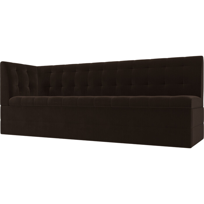 Кухонный угловой диван АртМебель Бриз вельвет коричневый левый угол