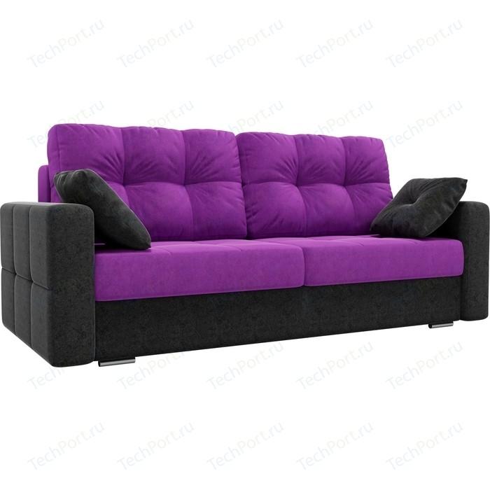 Прямой диван Лига Диванов Фьюжн вельвет фиолетовый/черный