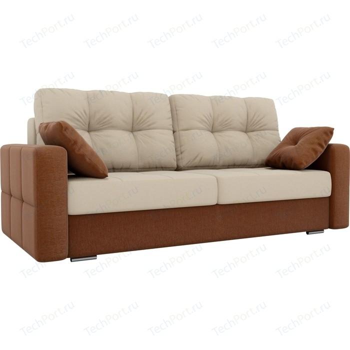 Прямой диван Лига Диванов Фьюжн рогожка бежевый/коричневый