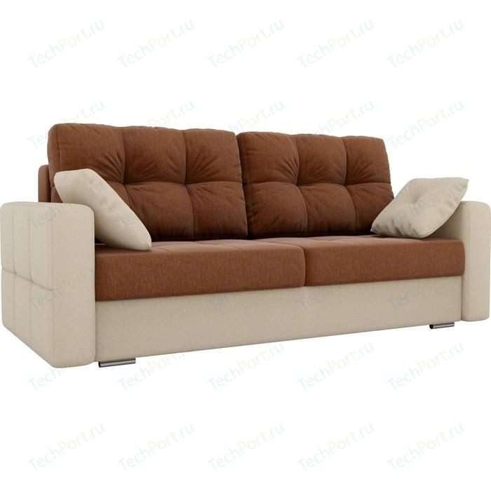 Прямой диван Лига Диванов Фьюжн рогожка коричневый/бежевый