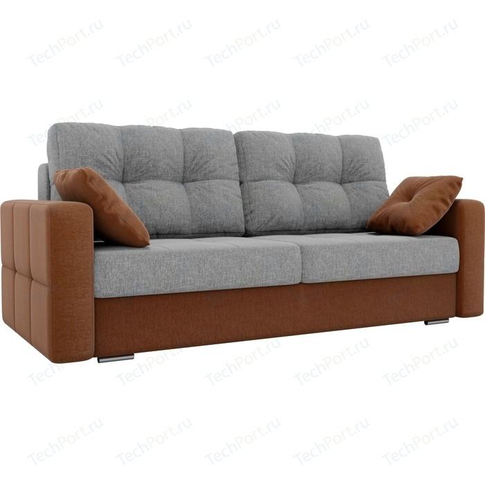 Прямой диван Лига Диванов Фьюжн рогожка серый/коричневый
