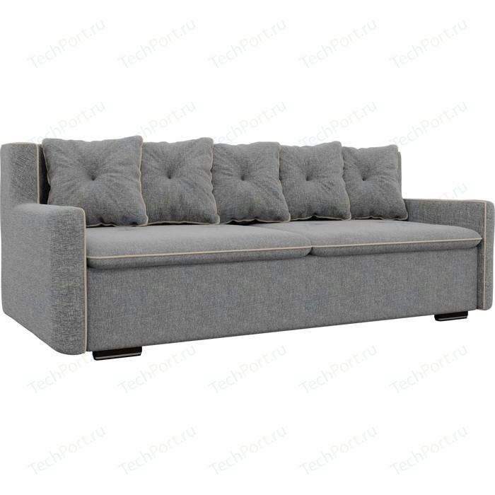 Прямой диван Лига Диванов Витаре рогожка серый окантовка бежевый