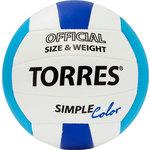 Купить Мяч волейбольный Torres любительский Simple Color арт. V30115, размер 5, бело-голубо-синий купить недорого низкая цена