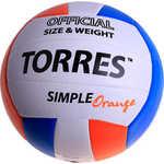Купить Мяч волейбольный Torres любительский Simple Orange арт. V30125, размер 5, белый-голубо-оранжевый купить недорого низкая цена