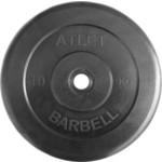 Купить Диск обрезиненный Atlet 26 мм 10 кг черный купить недорого низкая цена
