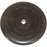 Купить Диск обрезиненный MB Barbell 26 мм 15 кг черный Стандарт купить недорого низкая цена