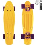 "Скейтборд RT 401-Y Fishskateboard 22"" винил 56,6х15 с сумкой YELLOW/dark purple"