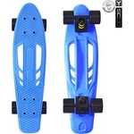 "Скейтборд RT 405-B Skateboard Fishbone с ручкой 22"" винил 56,6х15 с сумкой BLUE/black"