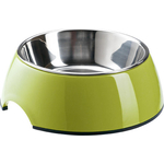 Миска SuperDesign METALIC BOWL SIZE S Lime на меламиновой подставке лайм для кошек и собак 160мл