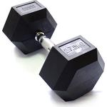 Купить Гантель гексагональная Original Fit.Tools обрезиненная, хромированная ручка, 27,5 кг FT-HEX-27,5