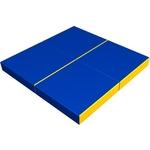 Купить Мат КМС № 11 (100 х 100 10) складной (4 сложения) сине- жёлтый 2635 купить недорого низкая цена