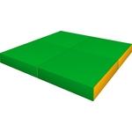 Купить Мат КМС № 11 (100 х 100 10) складной (4 сложения) зелёно- жёлтый 2633