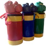 Купить Набор боксерский КМС детский № 2 (мешок 5 кг., перчатки, трос) синий/жёлтыйтехнические характеристики фото габариты размеры