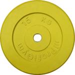 Купить Диск ProfiGym обрезиненный d 26 мм жёлтый 15,0 кг купить недорого низкая цена