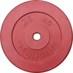 Купить Диск обрезиненный ProfiGym d 26 мм красный 25,0 кгтехнические характеристики фото габариты размеры