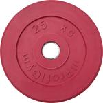 Купить Диск обрезиненный ProfiGym d 51 мм красный 25,0 кгтехнические характеристики фото габариты размеры