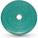Купить Диск MB Barbell обрезиненный d 51 мм цветной 10,0 кг (зеленый) купить недорого низкая цена