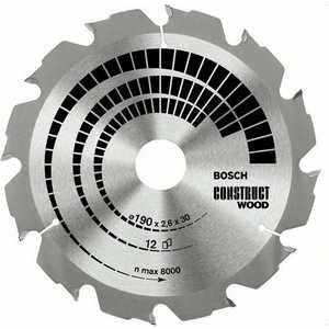 Диск пильный Bosch 160х20/16мм 12зубьев Construct Wood (2.608.640.630) диск пильный bosch 160х20 16мм 48зубьев optiline wood 2 608 640 732
