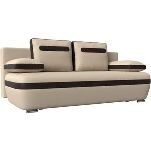 цена Прямой диван Лига Диванов Каир эко кожа бежевый вставка коричневая в интернет-магазинах