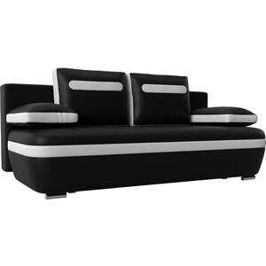 Прямой диван Лига Диванов Каир эко кожа черный вставка белая цена и фото