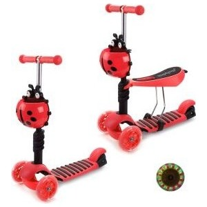 Самокат 3-х колесный Moby Kids Божья коровка 2 в 1, красный (641272) велосипед moby kids junior 2 10 8 красный t300 2