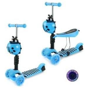 Самокат 3-х колесный Moby Kids Божья коровка 2 в 1, синий (641271) самокат 1 toy navigator 2 колесный т54960