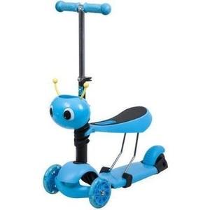 Самокат 3-х колесный NOVATRACK Disco-kids, детский трансформер голубой 120S. DISCOKIDS. BL9