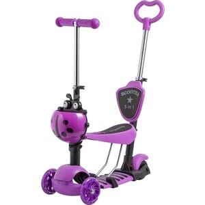 Самокат 3-х колесный NOVATRACK Disco-kids, детский трансформер фиолетовый 120SB. DISCOKIDS. VL9