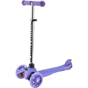 Самокат 3-х колесный NOVATRACK Disco-kids, свет. колеса фиолетовый 120H. DISCOKIDS. VL9