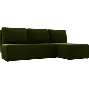 Угловой диван АртМебель Поло микровельвет зеленый правый угол
