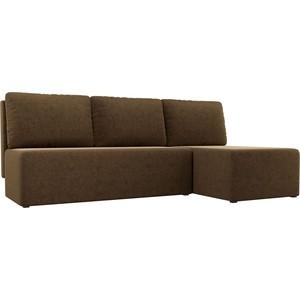 Угловой диван АртМебель Поло микровельвет коричневый правый угол