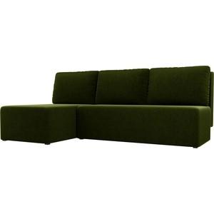 Угловой диван АртМебель Поло микровельвет зеленый левый угол