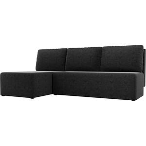 Угловой диван АртМебель Поло микровельвет черный левый угол