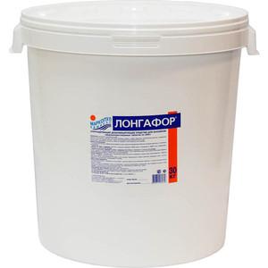 Медленнорастворимый хлор для непрерывной дезинфекции воды Маркопул Кемиклс Лонгафор М10, таблетки по 200 гр, ведро 30 кг