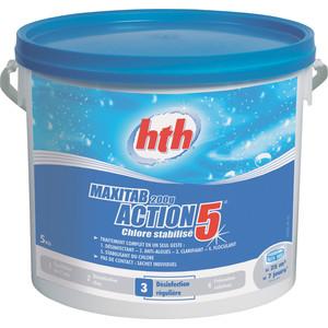Многофункциональные таблетки HTH K801778H1 по 200гр/25кг 5 в 1, стабилизированный хлор Maxitab Action