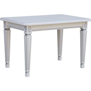 Стол обеденный Мебелик Меран 03 раздвижной белый/патина 150/200x80